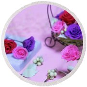How To Make Preservrd Flower And Clay Flower Arrangement, Colorf Round Beach Towel