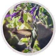 Hummingbird Heaven  Round Beach Towel