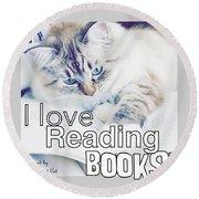 I Love Reading Books Round Beach Towel