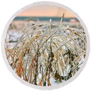 Ice On Branches Round Beach Towel