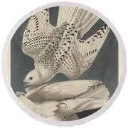 Iceland Or Jer Falcon Round Beach Towel