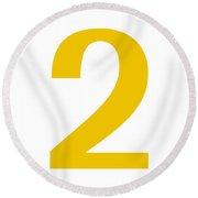 2 In Mustard Typewriter Style Round Beach Towel