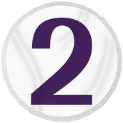 2 In Purple Typewriter Style Round Beach Towel