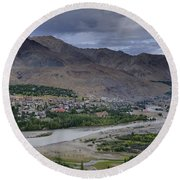 Indus River And Kargil City Leh Ladakh Jammu Kashmir India Round Beach Towel