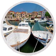 Island Of Prvic Harbor And Waterfront View In Sepurine Village Round Beach Towel