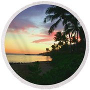 Island Sunset Round Beach Towel