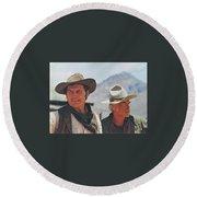 Jack Palance And Lee Marvin Monte Walsh Set Old Tucson Arizona 1969 Round Beach Towel