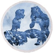 Jane And Tarzan-blue Round Beach Towel