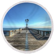 Jennettes Pier Nags Head North Carolina Round Beach Towel