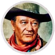 John Wayne, Hollywood Legend By John Springfield Round Beach Towel