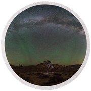 Joshua Tree Milky Way Panorama  Round Beach Towel