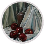Jug With Apples Round Beach Towel