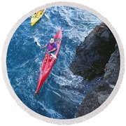 Kayaking Along Coastline Round Beach Towel