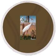 kb Marks Henry-Indian Crane Bullfinch and Thrush Henry Stacy Marks Round Beach Towel