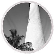 Key Biscayne Lighthouse Round Beach Towel