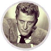 Kirk Douglas, Vintage Actor Round Beach Towel