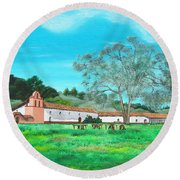 La Purisima Mission Round Beach Towel