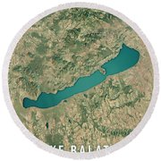 Lake Balaton 3d Render Satellite View Topographic Map Round Beach Towel