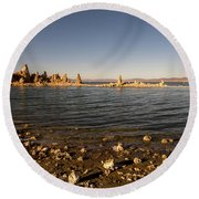 Lakefront And Sunset At Mono Lake, Eastern Sierra, California, U Round Beach Towel