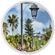 Lampost With Flowers In Nafplio Town Round Beach Towel