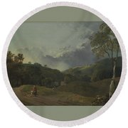 Landscape With Cottagers Round Beach Towel