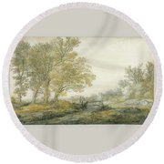 Landscape With Trees Round Beach Towel