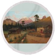 Landscape With Volcano Round Beach Towel