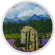 Lavender Farm Round Beach Towel