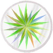Leaves Of Grass Round Beach Towel