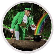 Leprechaun With Pot Of Gold Round Beach Towel