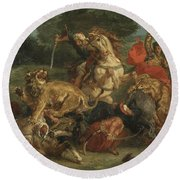 Lion Hunt Round Beach Towel