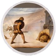 Lion In The Arena Round Beach Towel