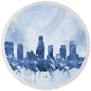 Los Angeles Skyline-blue Round Beach Towel