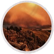 Lost River Sunset Round Beach Towel