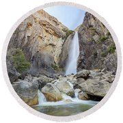 Lower Yosemite Fall In The Famous Yosemite Round Beach Towel