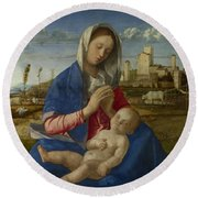 Madonna Of The Meadow Round Beach Towel
