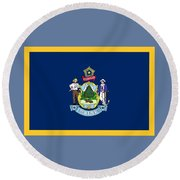 Maine Flag Round Beach Towel