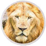 Majestic Lion Round Beach Towel