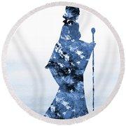 Maleficent-blue Round Beach Towel