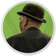 Man With A Bowler Hat Round Beach Towel