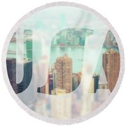 Manhattan Skyline At Sunset, New York City  Round Beach Towel