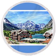 Many Glacier Hotel Round Beach Towel