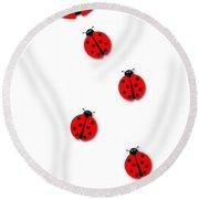 Many Ladybugs Round Beach Towel