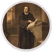 Martin Luther, German Theologian Round Beach Towel