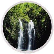 Maui Waterfall Round Beach Towel