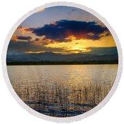 Mcintosh Lake Sunset Round Beach Towel