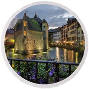 Medieval Jail In Annecy Round Beach Towel