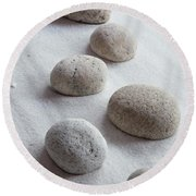 Meditation Stones On White Sand Round Beach Towel