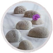 Meditation Stones Pink Flowers On White Sand Round Beach Towel