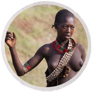 member of the Bena Tribe, Omo Valley Round Beach Towel